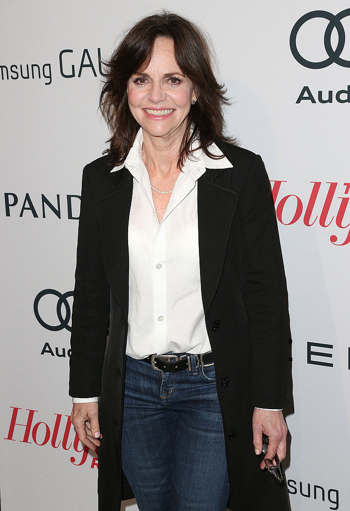 Sally Field sported jeans and a long sweater.