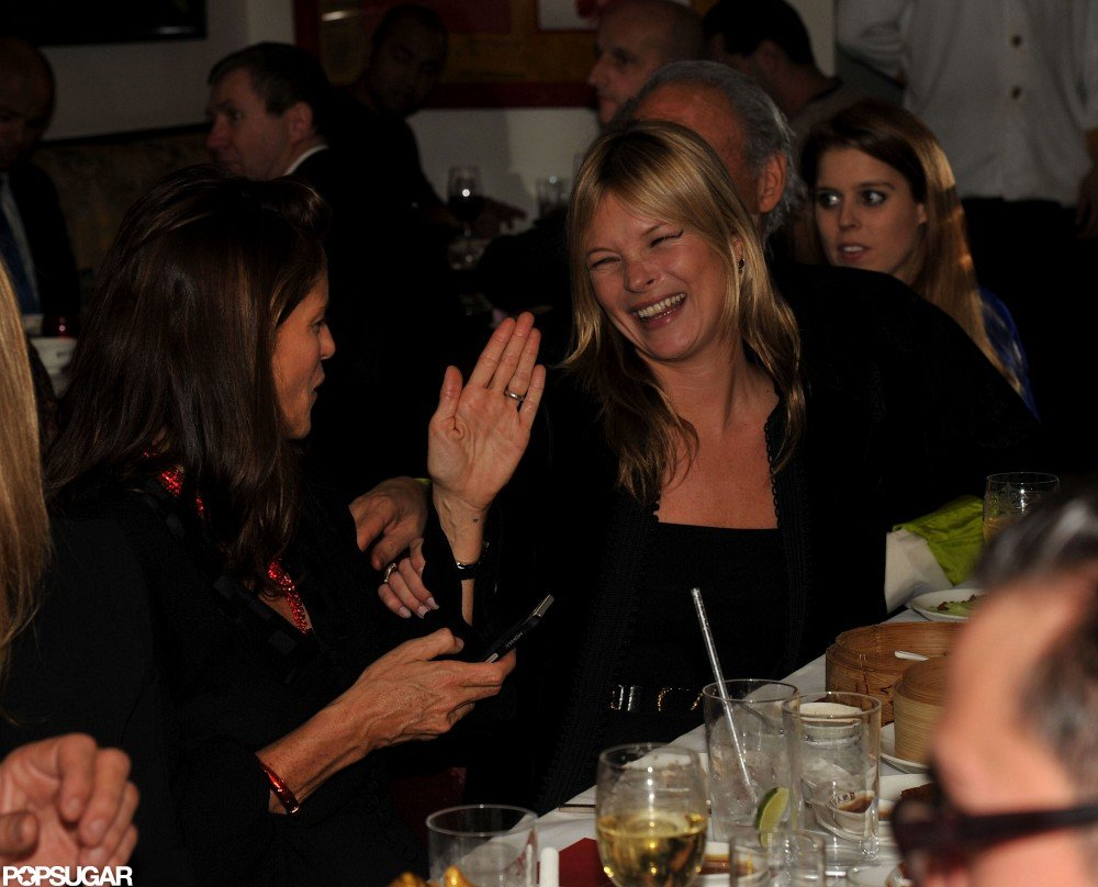 Kate Moss laughed and chatted at China Tang restaurant in London.