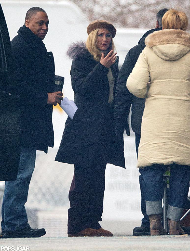 Jennifer Aniston Goes Blond on Set