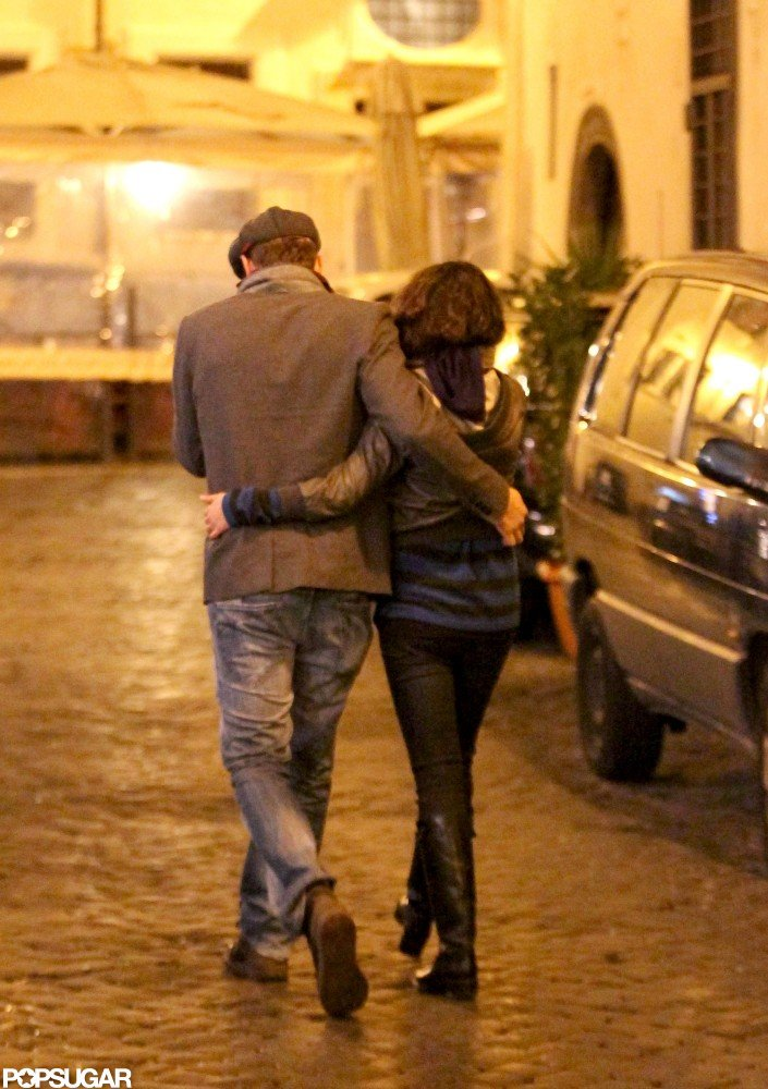 The couple cuddled up to keep warm while exploring Rome together in November 2012.
