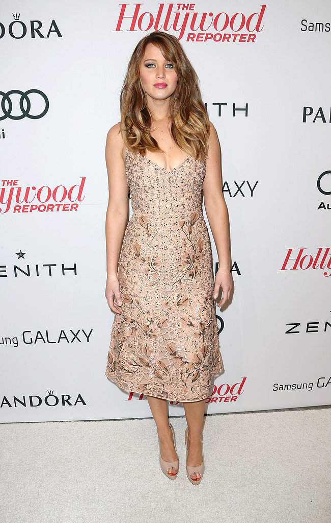 Jennifer Lawrence wore a nude-colored dress.