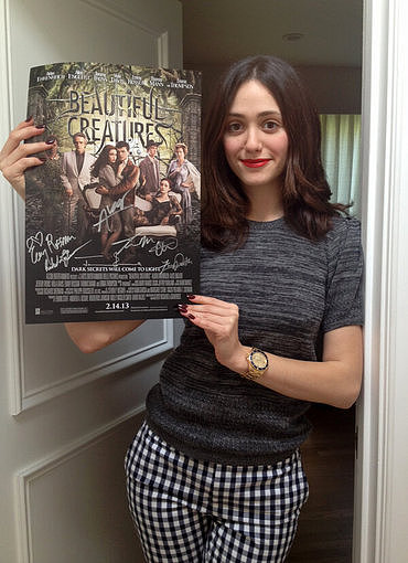 Emmy Rossum signed autographed posters for her latest film, Beautiful Creatures. Source: Twitter user emmyrossum