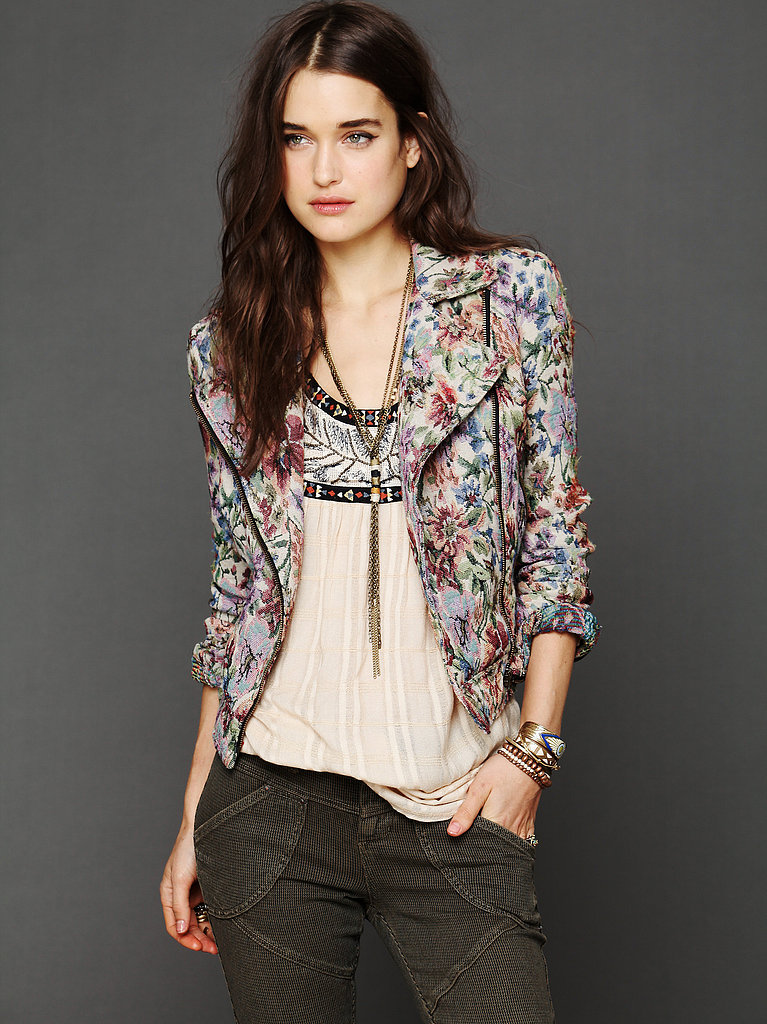 Free People's Tapestry Moto Jacket ($90, originally $148) is the perfect mix of subversive and soft.