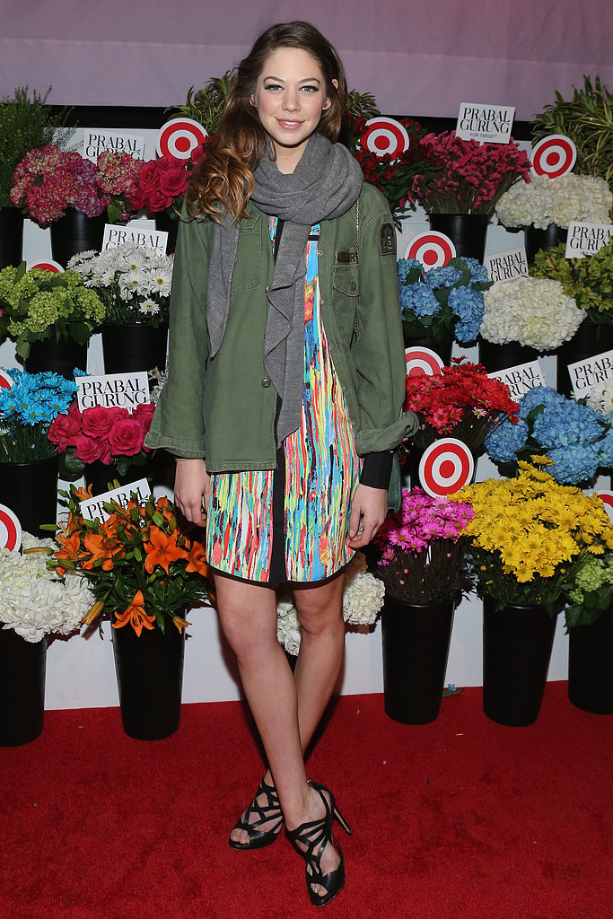Analeigh Tipton made a splash on the red carpet in a watercolor shirtdress, army anorak, and strappy Rupert Sanderson sandals at the Prabal Gurung For Target launch party.