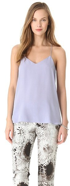 We'd wear this wispy Tibi Silk Camisole ($158) with a pair of printed boyfriend jeans.