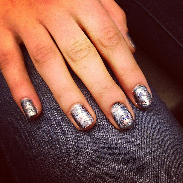 The oil-slick manicure by Essie at Rebecca Minkoff could only be summed up in one word: major.