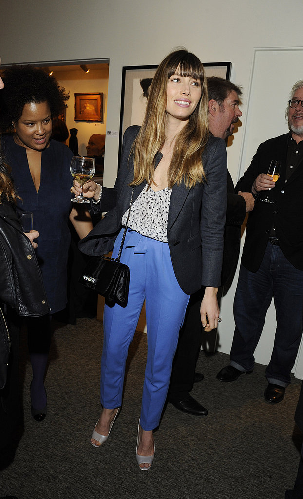 Jessica Biel paired her blue pants with a blazer out in LA.