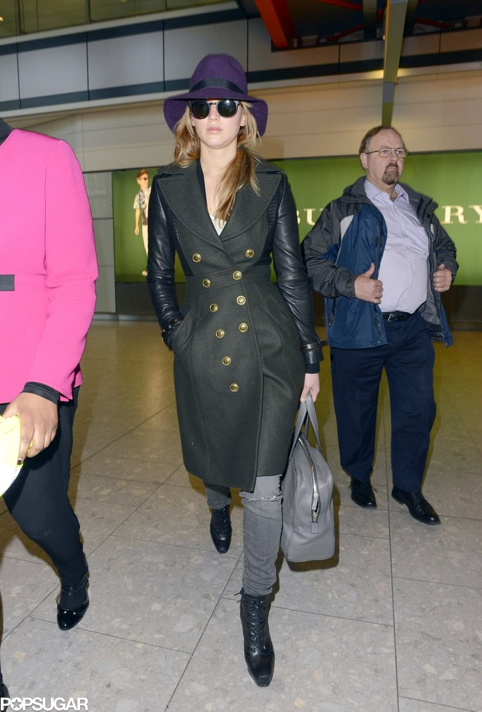 Jennifer Lawrence wore a green and leather trench.