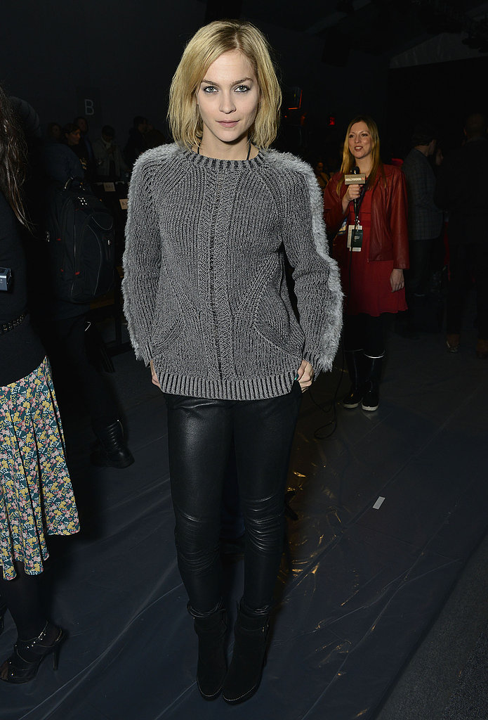 Leigh Lezark's gray sweater gave cozy flair to her black leather pants at Nicole Miller's show.