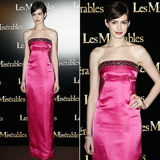 Anne Hathaway's latest stunner? A perfectly pink Prada gown.