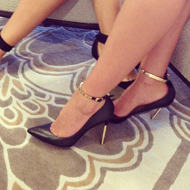 Hello, heels! We were lusting after Miranda's sexy spiked Valentino heels at the David Jones A/W Fashion Launch.