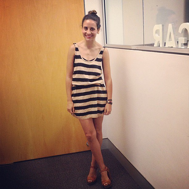 "Marisa wears dress by Kirrily Johnston, shoes by Chloé and a Scanlan & Theodore tank underneath. ""Stripes and neutrals are a no-brainer for me. Sometimes it's nice to put fleeting trends aside and stick to the classics!"""