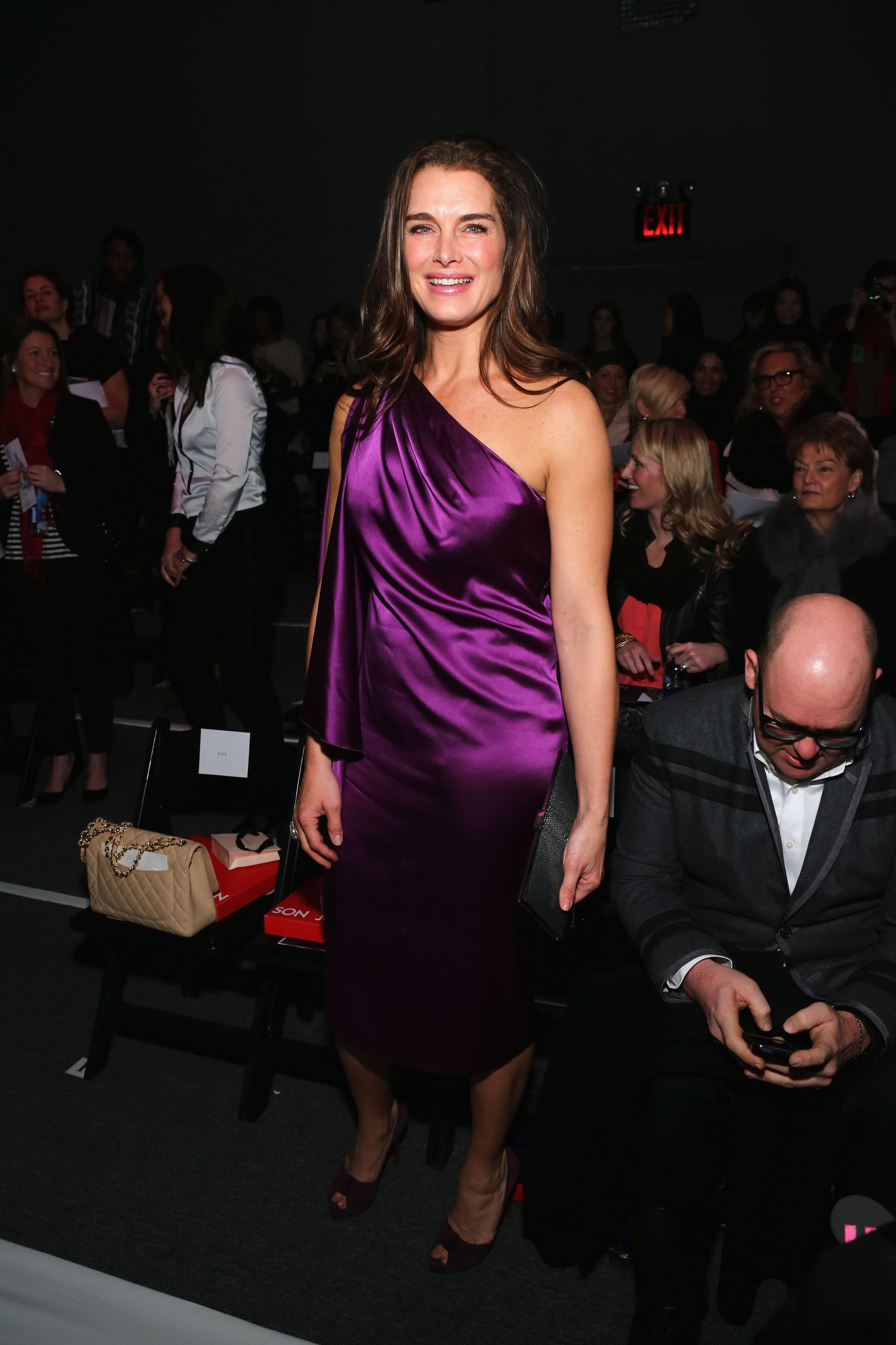 Brooke Shields wore purple for Son Jung Wan's show on Saturday.