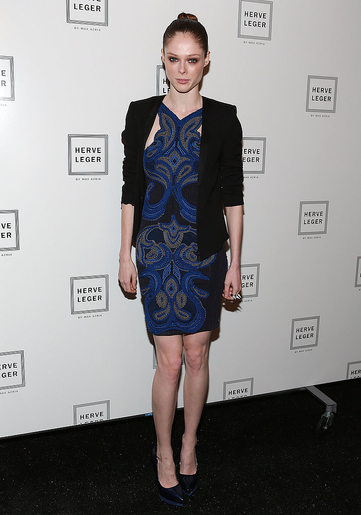 Coco Rocha showcased a black and blue pairing at the Hervé Léger show.