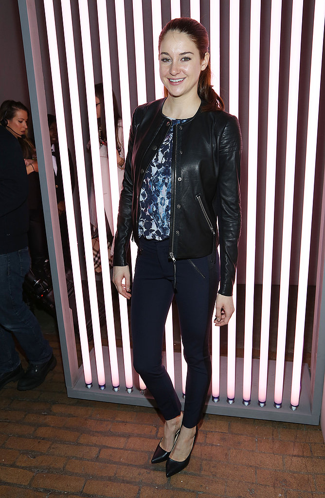 Shailene Woodley toughened up her floral blouse with a black leather jacket and leather-trim trousers at Rebecca Taylor.