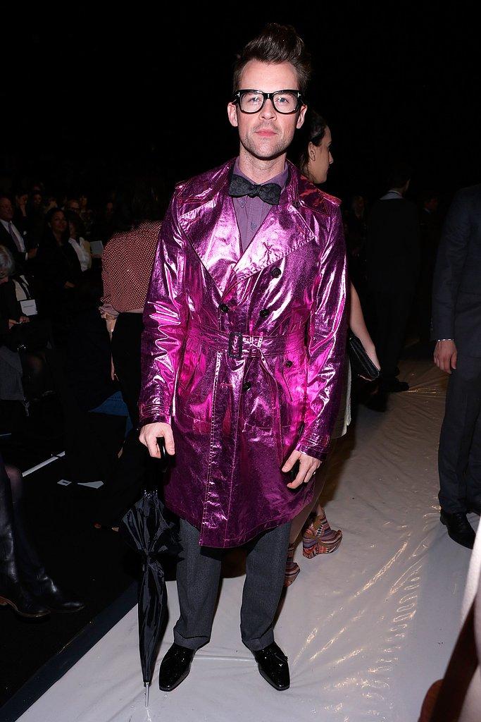 Brad Goreski wore a pink metallic coat at the Carolina Herrera fashion show in NYC in February.