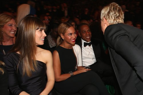 Ellen DeGeneres stopped to say hi to Beyoncé and Jay-Z while Jessica Biel looked on.
