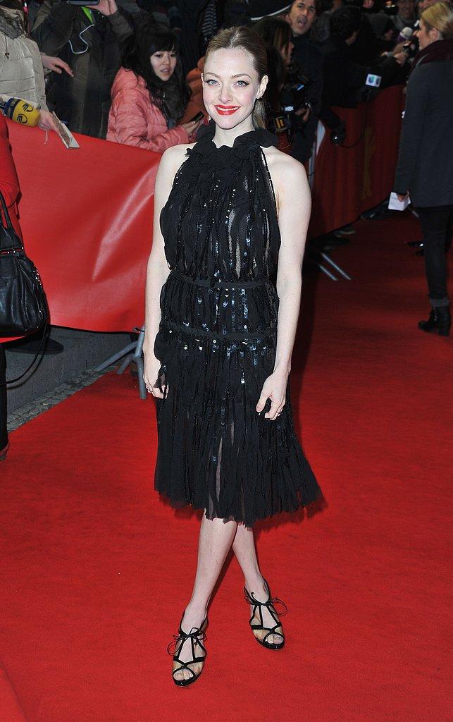 On Saturday, Amanda Seyfried donned a black Nina Ricci dress for the Les Misérables premiere at the Berlin Film Festival.