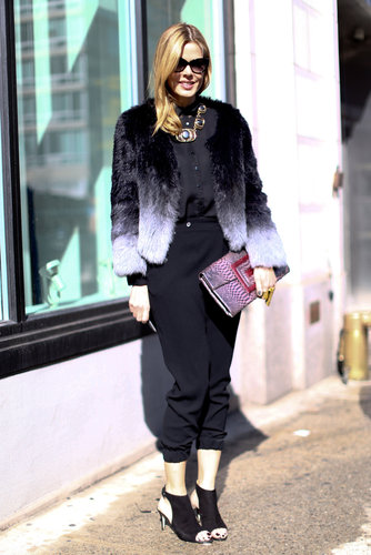 Mary Alice Stephenson worked an ombré fur into her laid-back look for a glamorous finish.