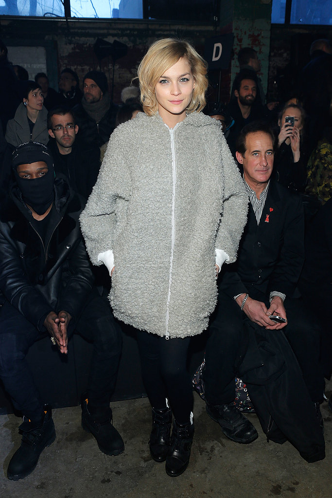 Leigh Lezark stepped away from her usual glamorous front row fare, in favor of this cozy gray oversized zip-up hoodie at Y-3.