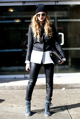 Leather leggings, cool kicks, and a beanie are practically cool-girl protocol at this point.