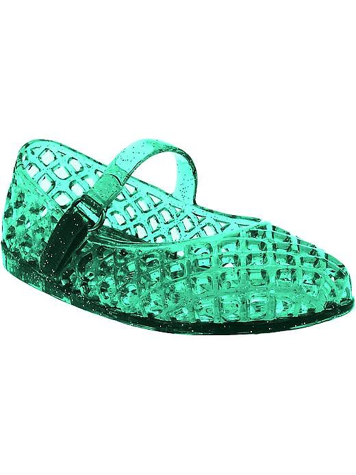 Green baby jelly sandals ($10) are a quick and easy way to get her in the Mardi Gras spirit.