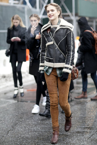 A shearling jacket toughened up corduroys.