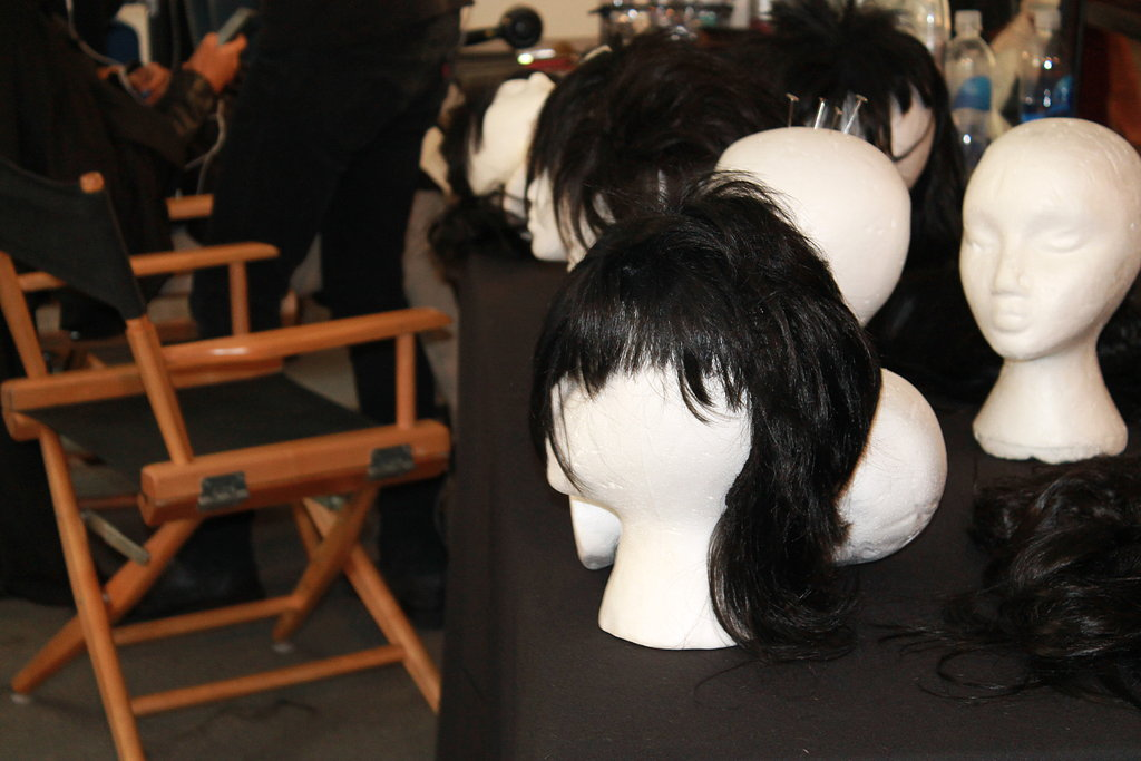 """""""The hair is supposed to look really skank and nasty, but we obviously don't want to ruin their hair,"""" Souleiman said. Instead, he and his team repurposed old wigs into punk-rock-style hair pieces."""