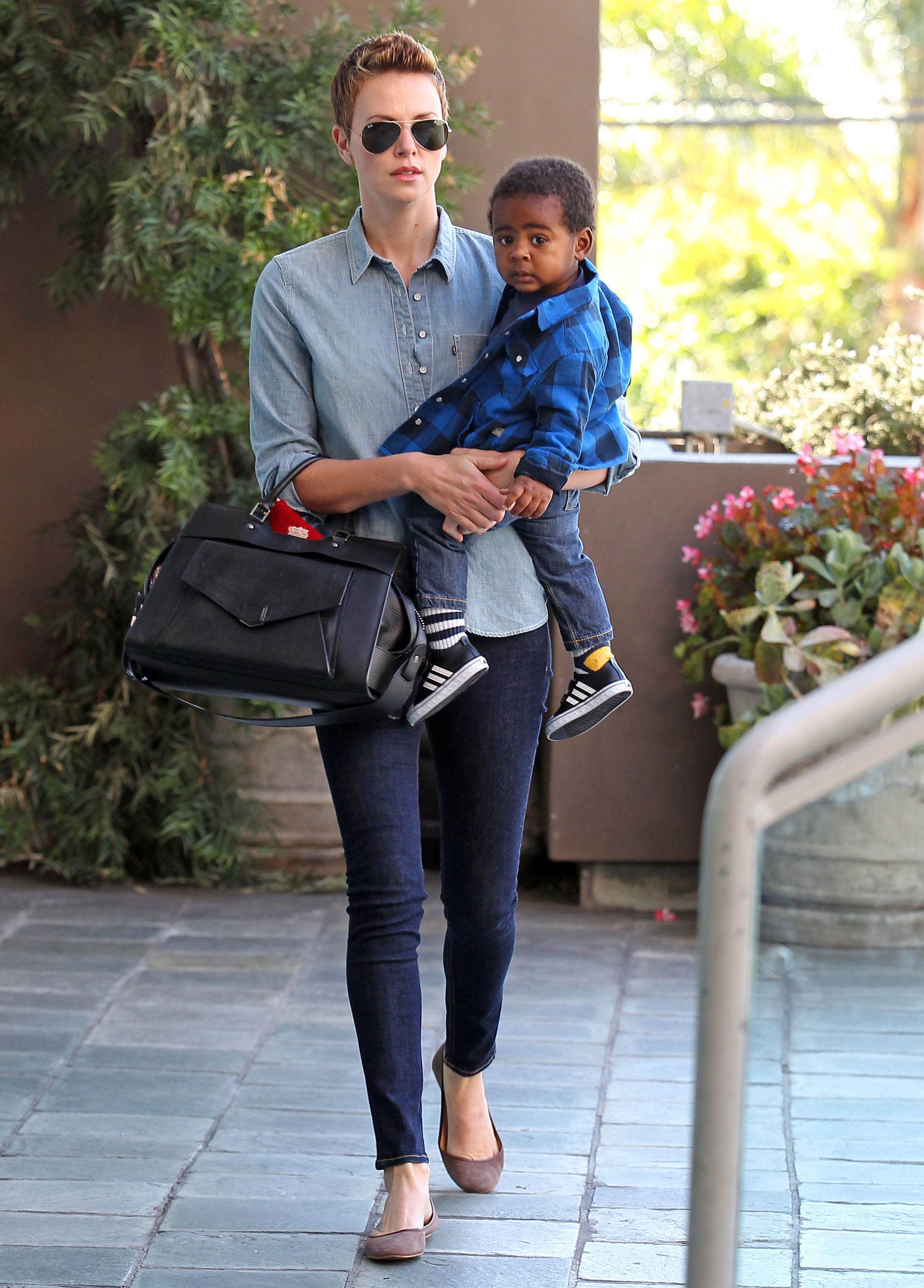 Charlize Theron took her son, Jackson, to a children's gym in LA.