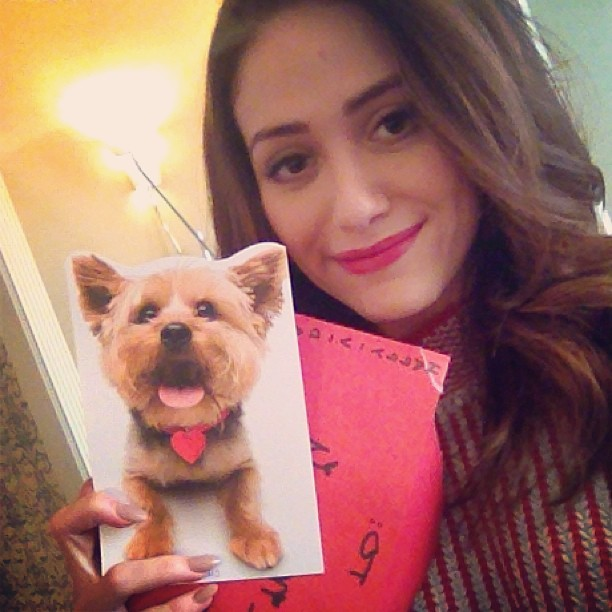 Emmy Rossum shared her first valentine of the holiday. Source: Instagram user emmyrossum