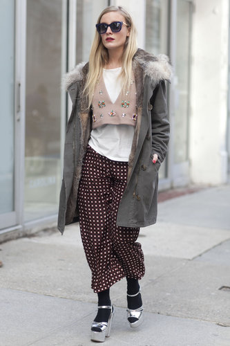 Fanciful layers and metallic footwear gave this look a vintage-meets-fashion-forward twist.