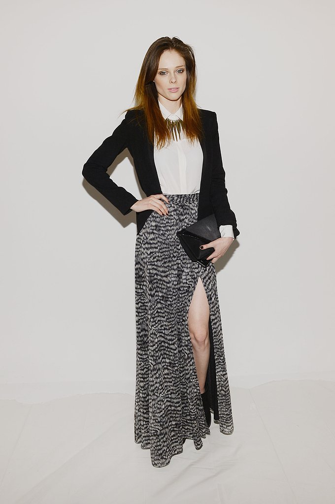 Coco Rocha took her black and white ensemble to new heights via an animal-print Rachel Zoe maxi skirt and statement bullet necklace at Rachel Zoe.