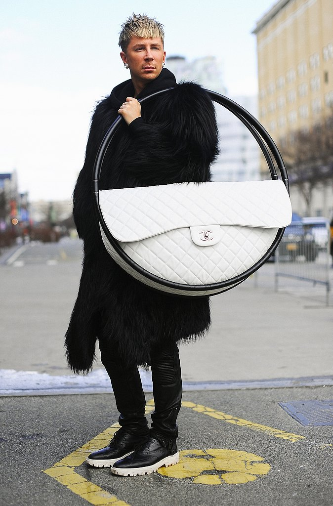 Marie Claire editor Kyle Anderson toted Chanel's Hula-Hoop all around NYFW.