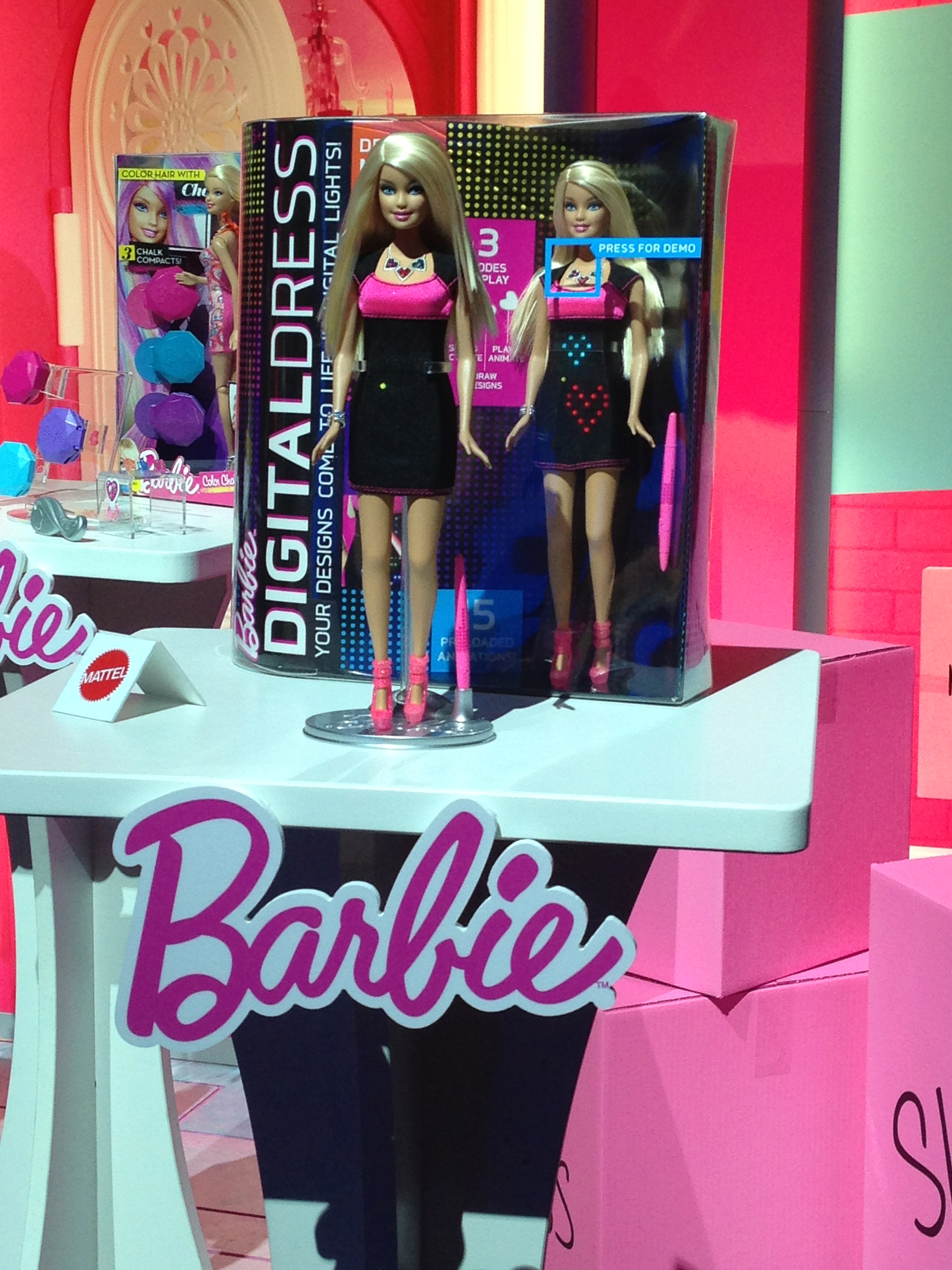 Barbie's dress goes digital for 2013 with its light-up functionality.