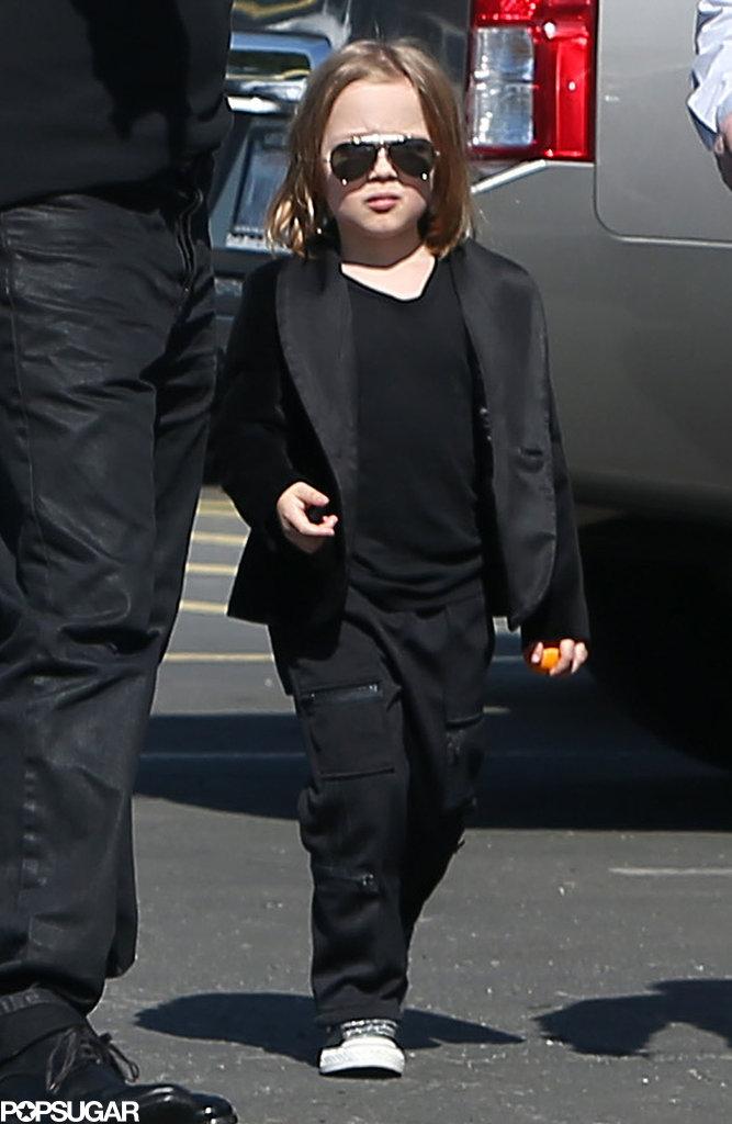Knox Jolie-Pitt wore aviators.