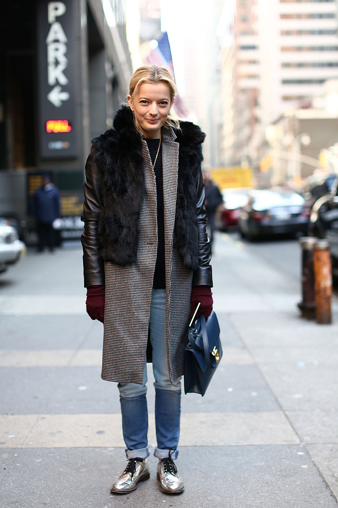 Fur countered a smart coat and metallic oxfords.