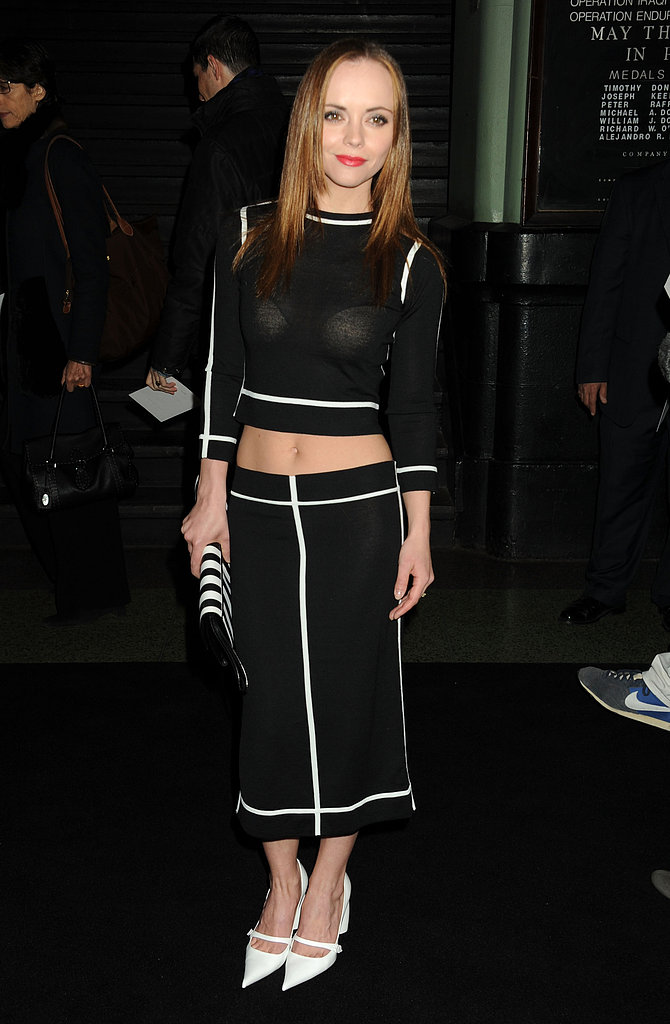 Christina Ricci wore a midriff-baring top for the Marc Jacobs show on Thursday.
