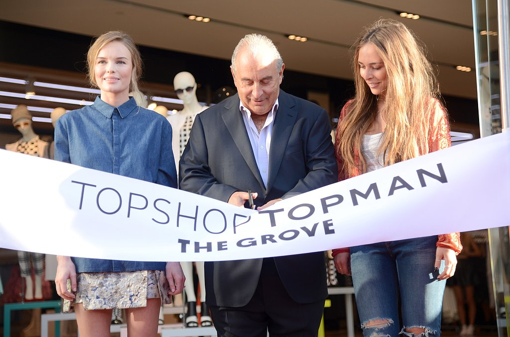 Kate Bosworth helped cut the ribbon for the store opening with Sir Philip Green and his daughter, Chloe Green.