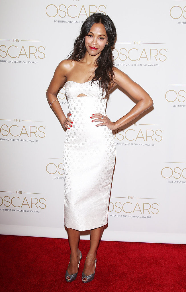 We could hardly take our eyes off of the beautiful Zoe Saldana, who chose a bright white Alexander McQueen strapless for the Academy of Motion Picture Arts and Science's Scientific and Technical Awards.
