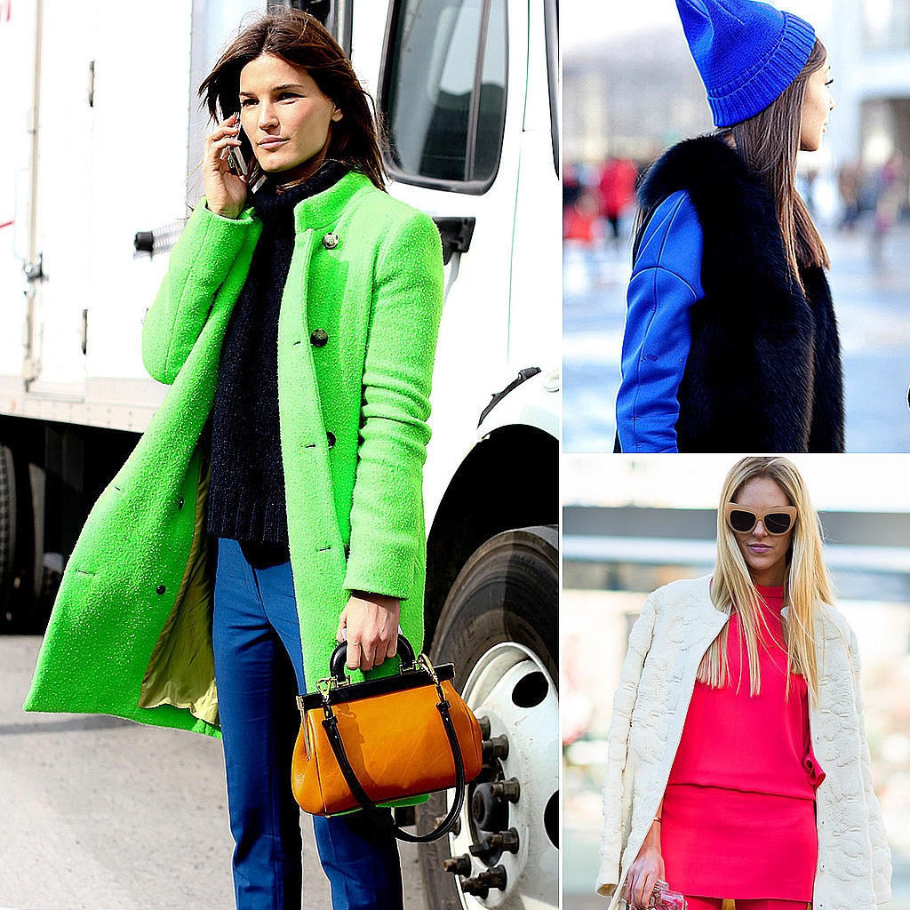The street-style set combated the cold in brightly colored outfits.