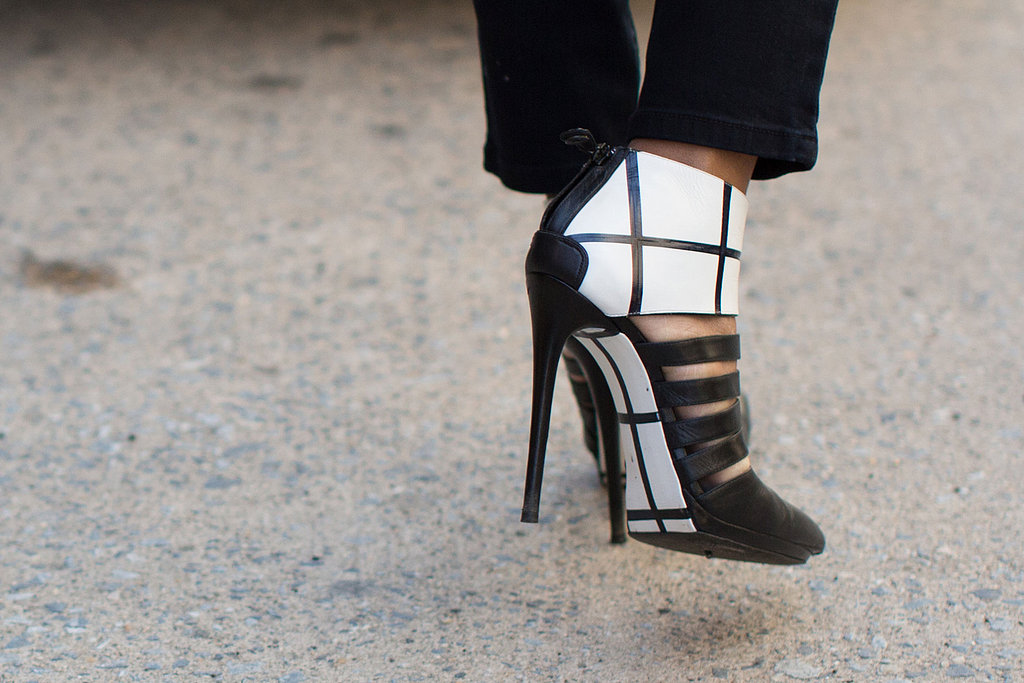 Black-and-white caged heels felt both posh and a little edgy.