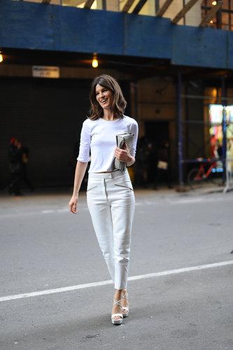 Hanneli Mustaparta worked an all-white, minimalist look on her way into Calvin Klein.