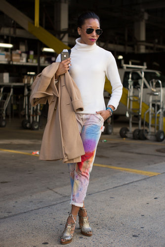 Rainbow-bright trousers played opposites against a creamy, classic turtleneck.