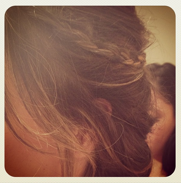 A close up look at Alessandra Ambrosio's Oscar afterparty hair. Source: Instagram user alecambrosio