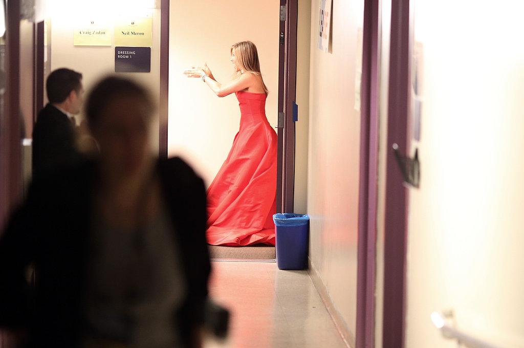 Jennifer Aniston backstage at the Oscars.