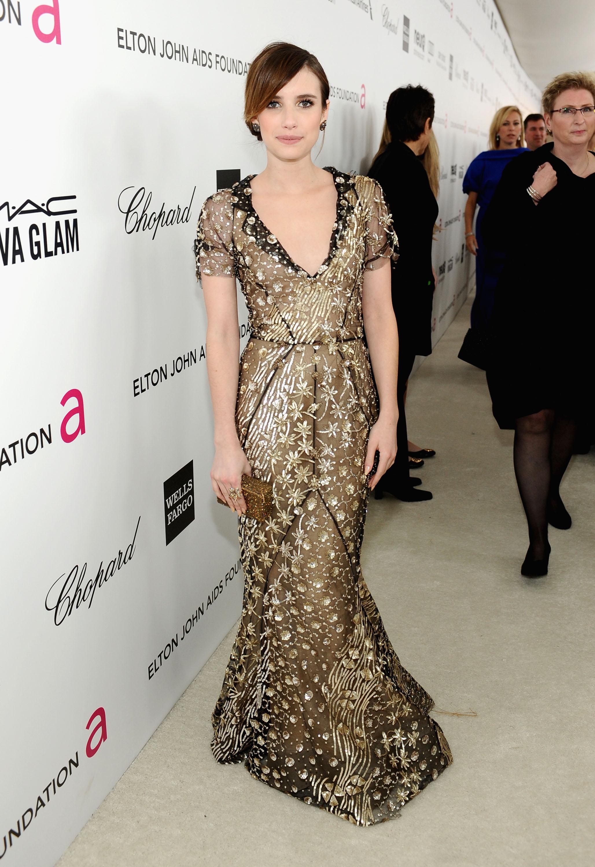 Emma Roberts attended Elton John's Oscar party in LA.