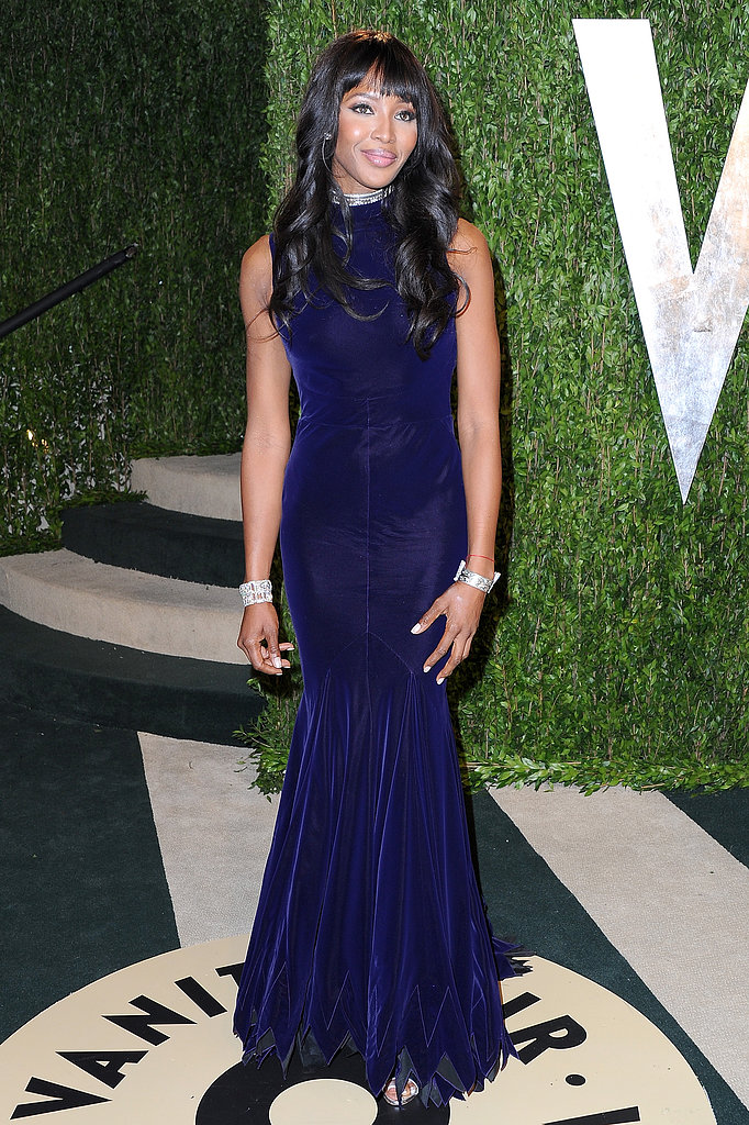 Naomi Campbell arrived at the Vanity Fair Oscar party on Sunday night.