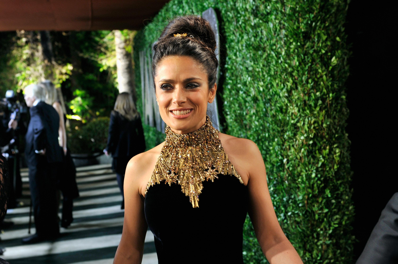Salma Hayek arrived at the Vanity Fair Oscar party on Sunday night.