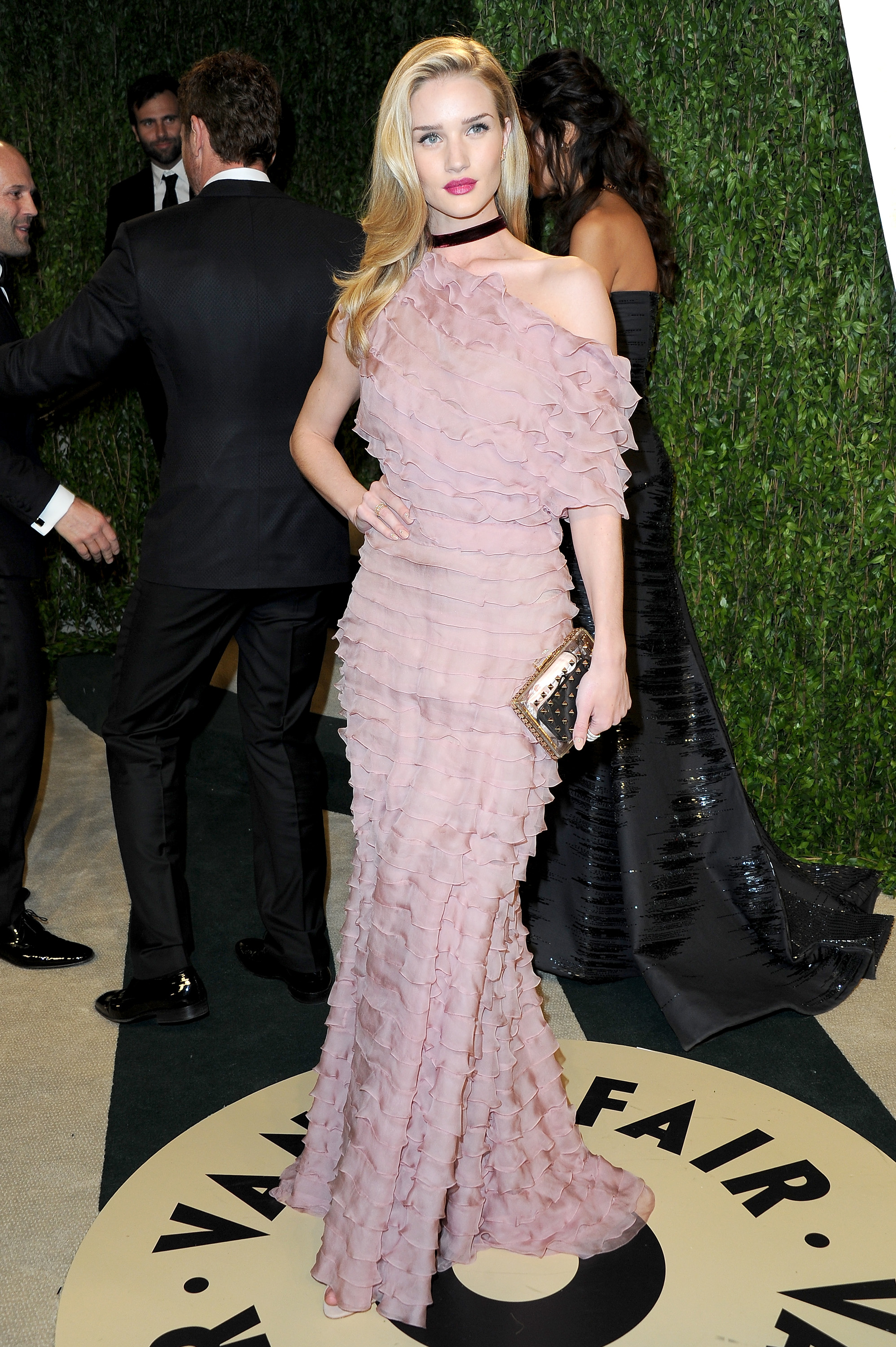 Rosie Huntington-Whiteley arrived at the Vanity Fair Oscar party on Sunday night.