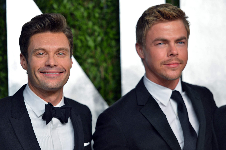 Ryan Seacrest and Derek Hough arrived at the Vanity Fair Oscar party on Sunday night.